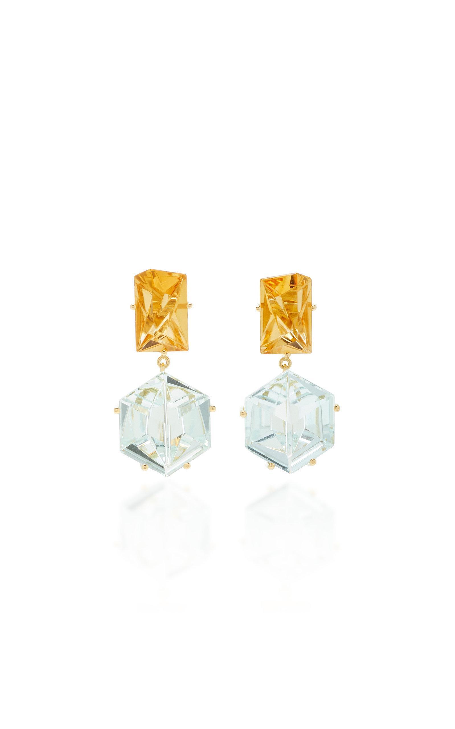 Misui 18k Gold Aquamarine And Citrine Earrings In Blue