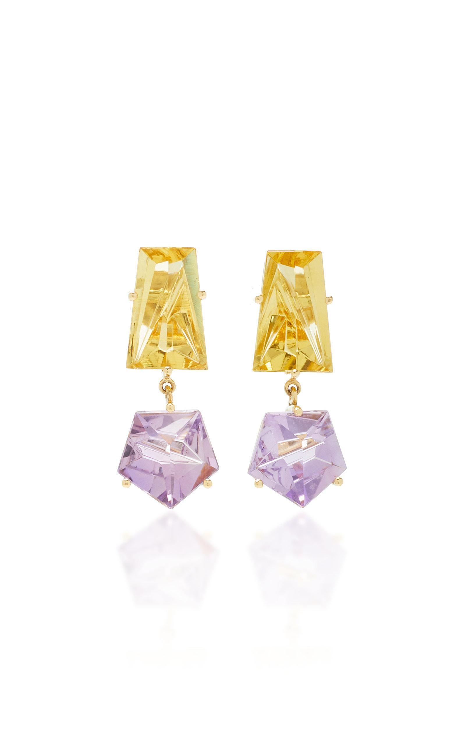 Misui 18k Gold Amethyst And Beryl Earrings In Purple