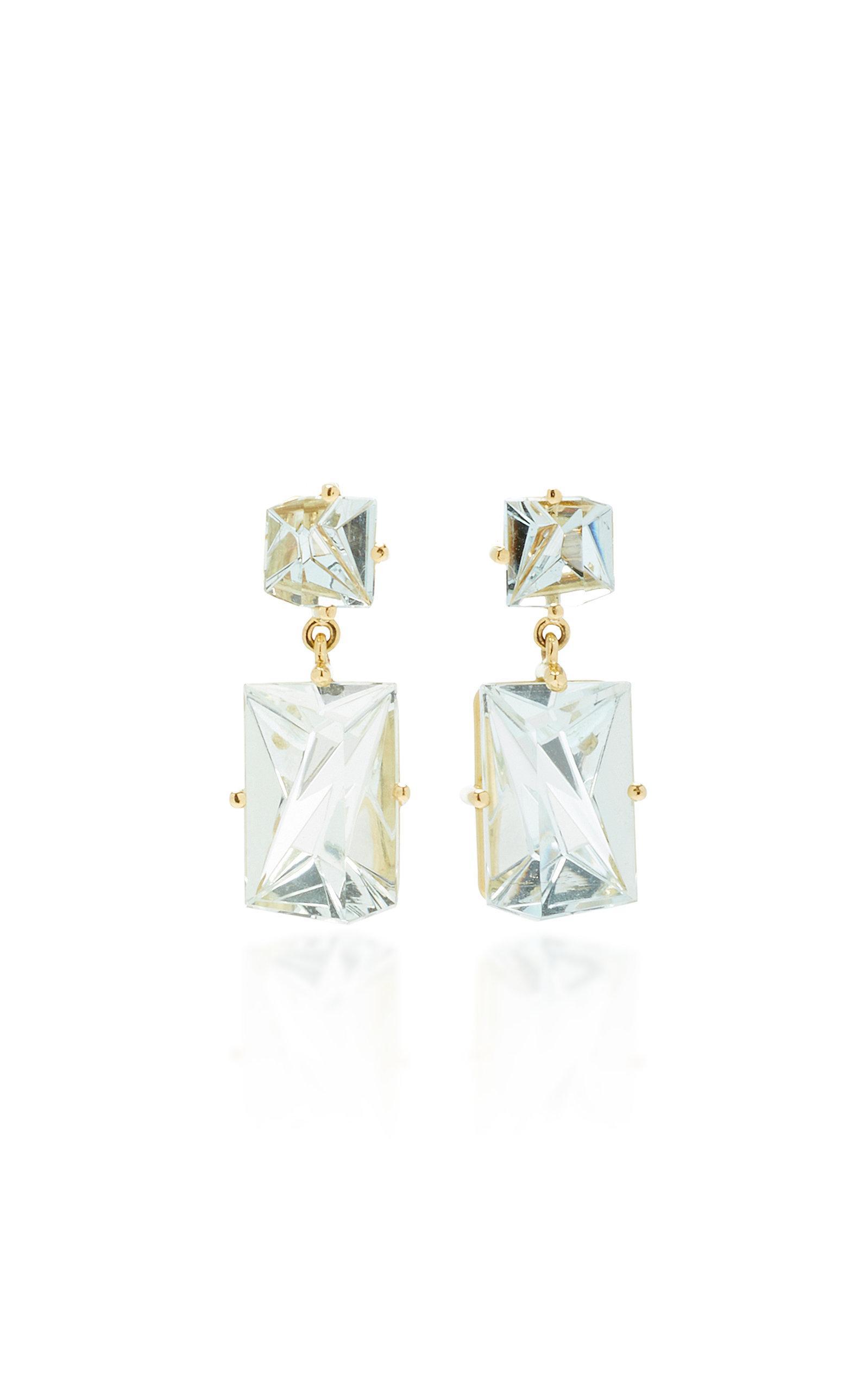 Misui 18k Gold Aquamarine Earrings In Blue
