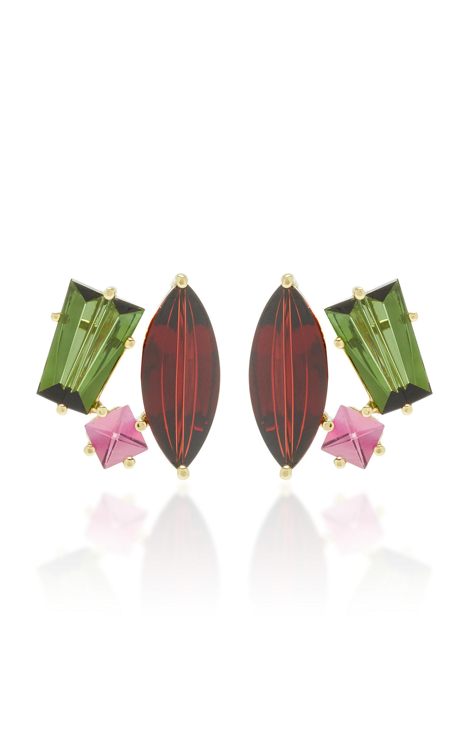 Misui One-of-a-kind 18k Gold And Multi-stone Earrings In Green