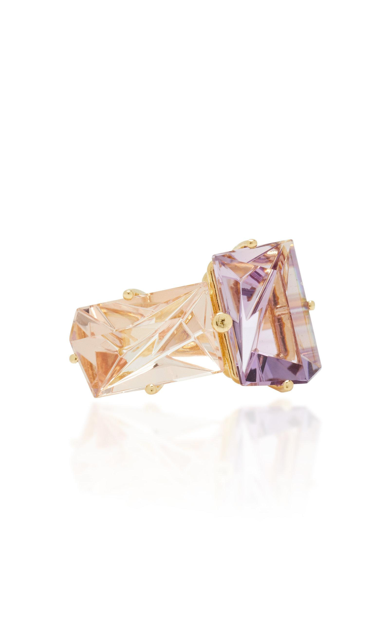 Misui 18k Gold Morganite And Amethyst Ring In Pink