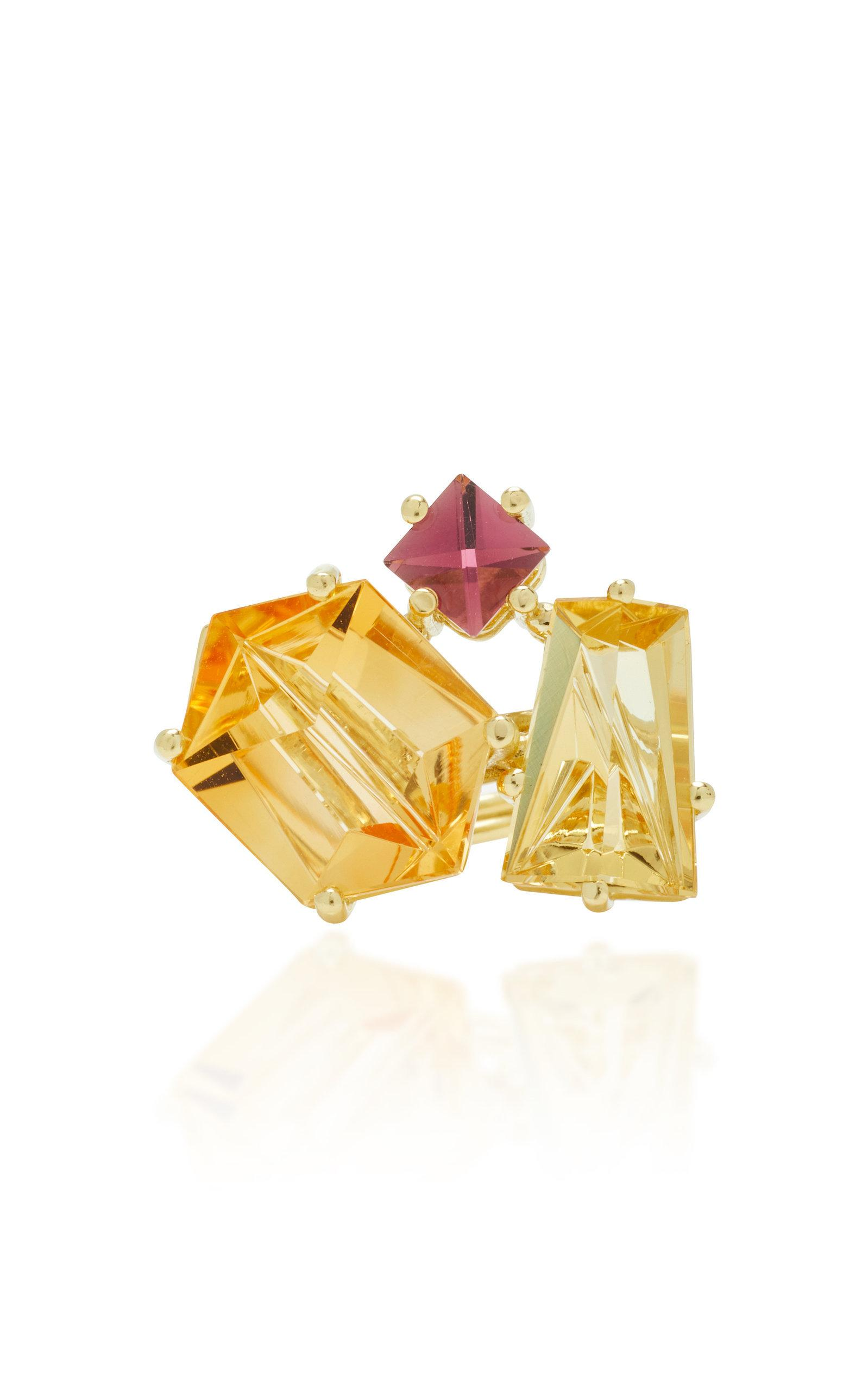 Misui One-of-a-kind 18k Gold Citrine And Beryl Ring In Orange