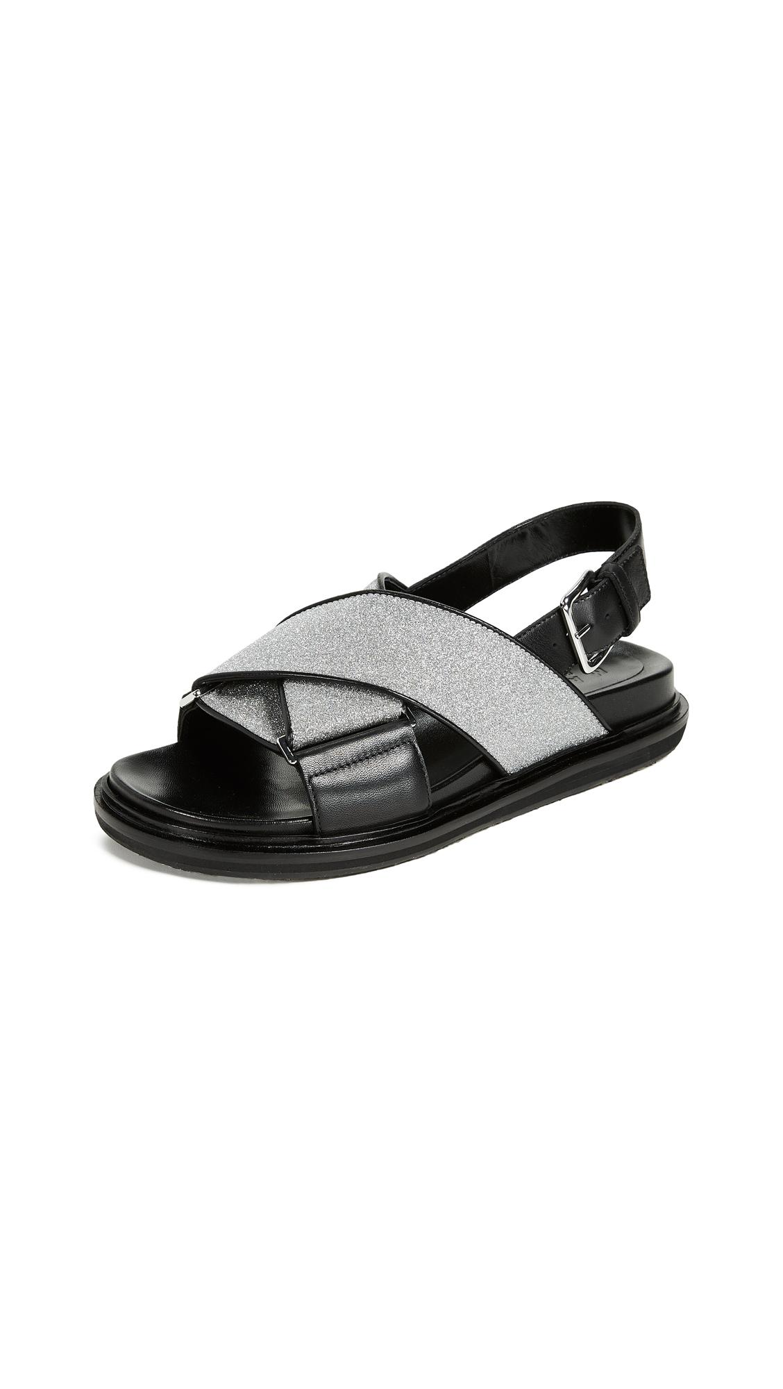 496023440 Marni Glittered Leather Slingback Sandals In Black