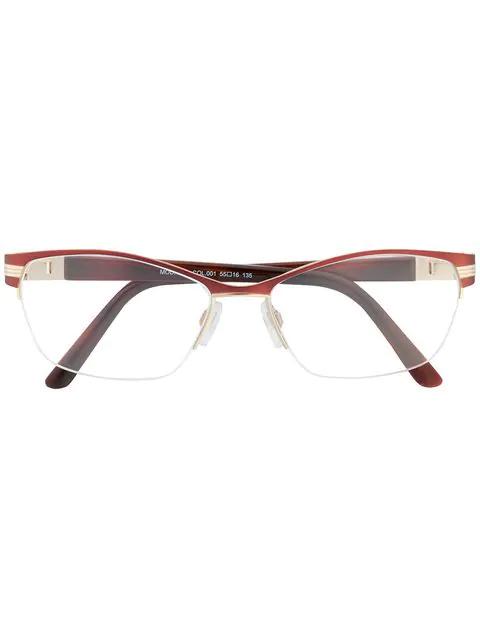 Cazal Rectangular Shaped Glasses In Pink