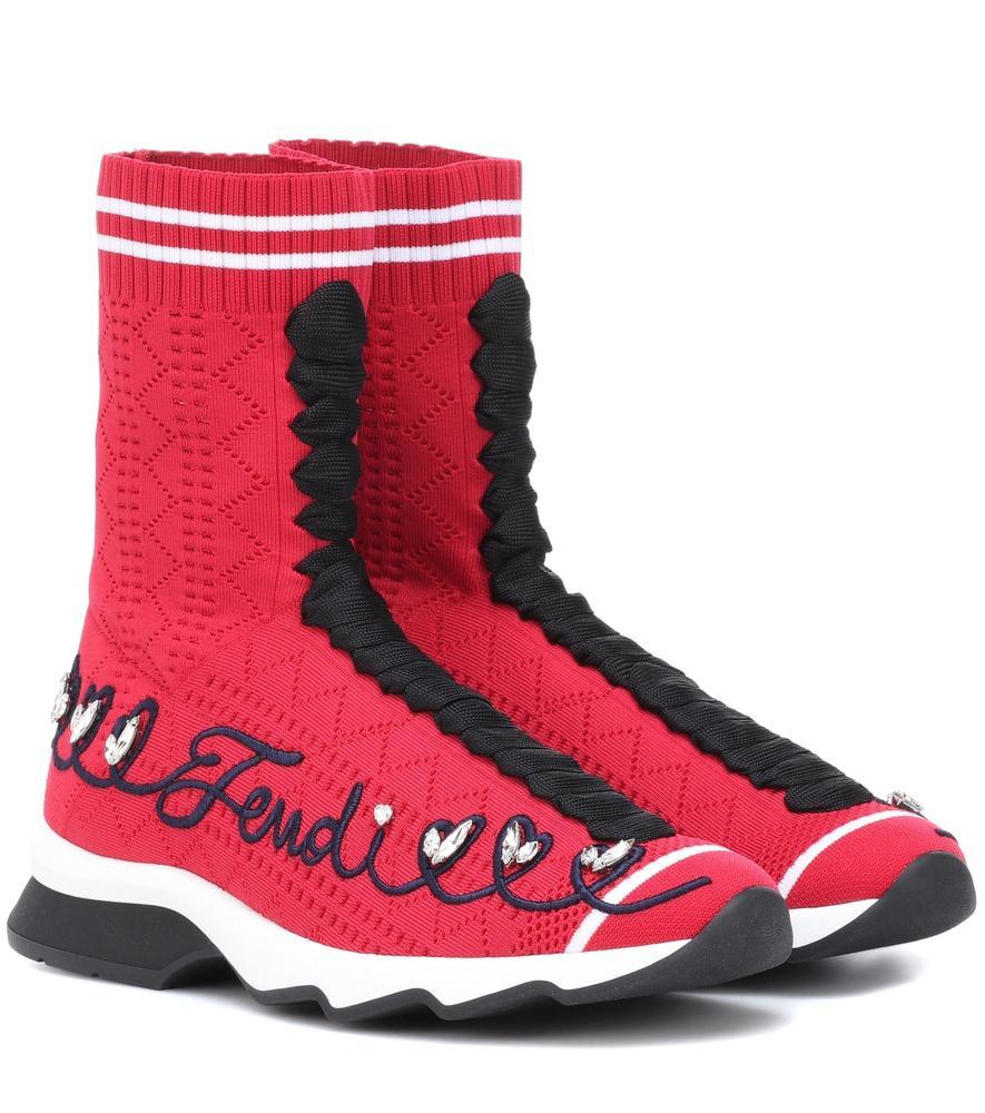 Fendi Rockoko刺绣标志板鞋 In F13Mq Rouge/Noir