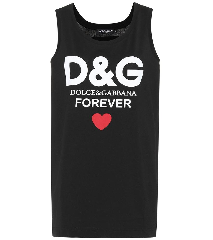 Dolce & Gabbana 印图织棉无袖T恤 In Black