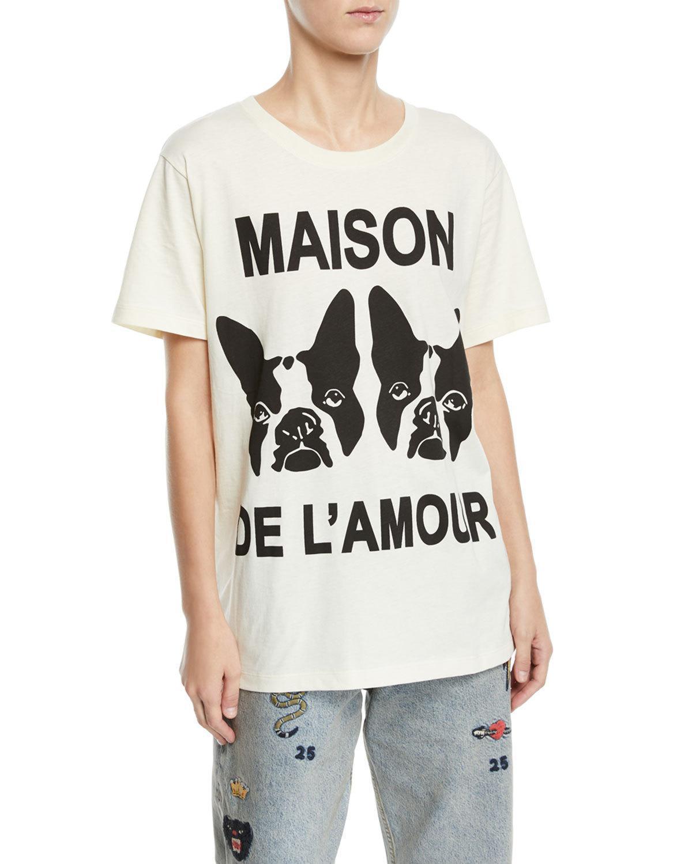 de9a5ba7d1c Gucci Maison De L Amour Dog Print Cotton Jersey Tee In White