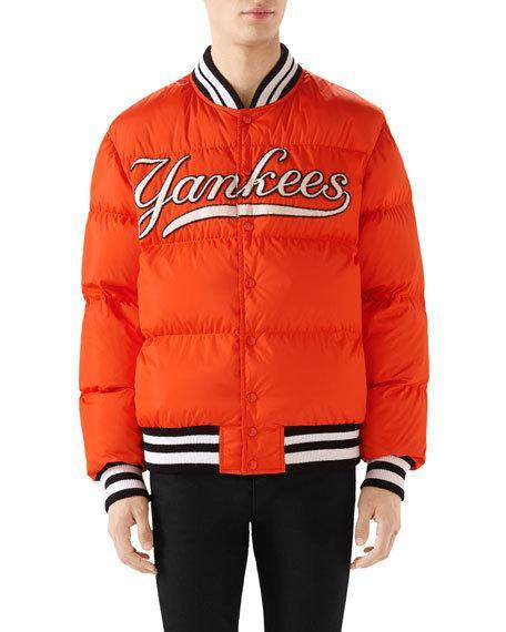 2597ee283 Gucci + New York Yankees AppliquÉD Quilted Shell Down Jacket In Yellow