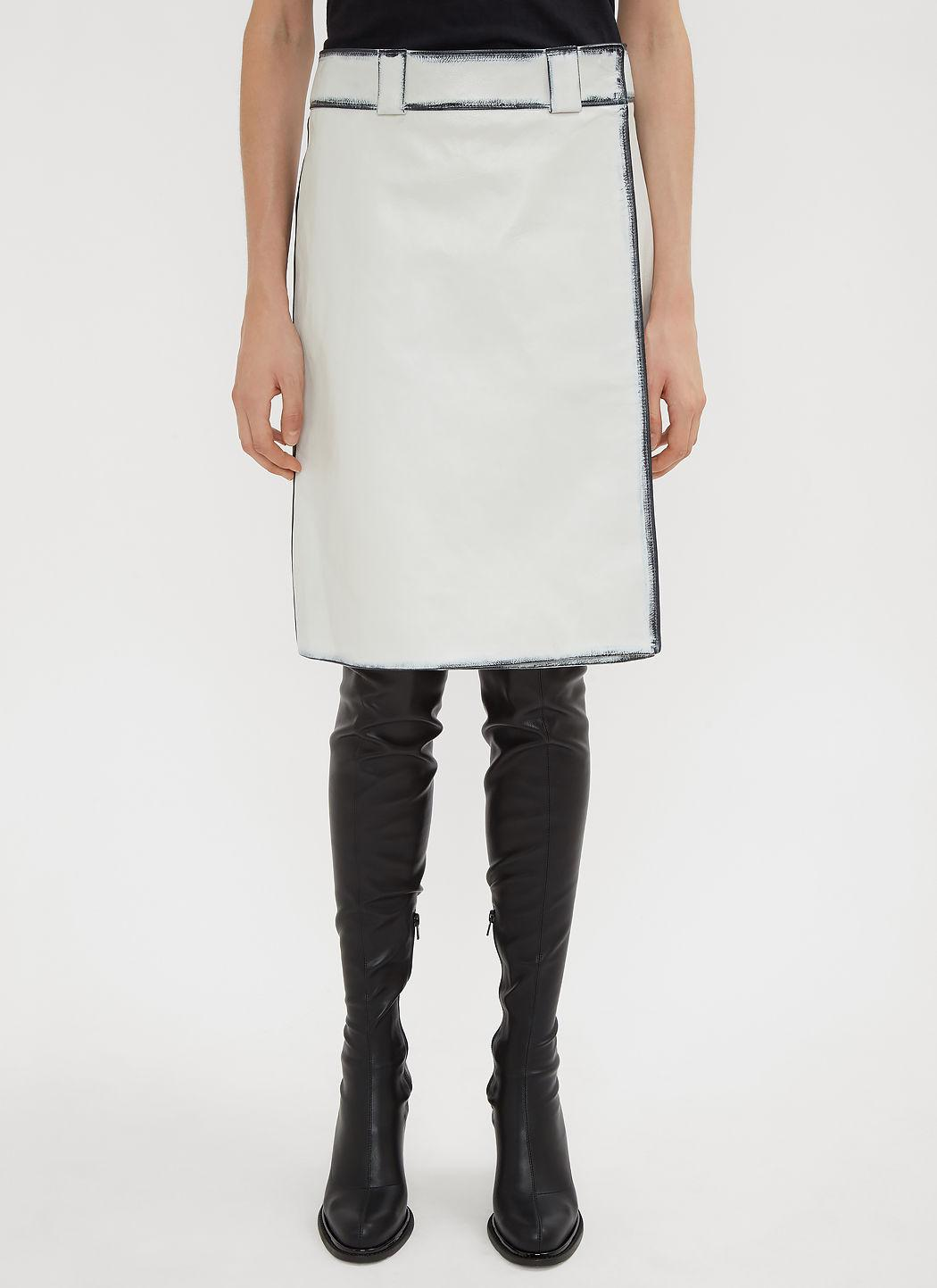 Prada Distressed Leather A-line Skirt In White