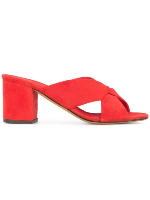 Alumnae Heeled Slippers In Red