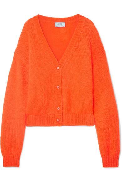 Prada V-neck Button-front Oversized Wool-mohair Cardigan Sweater In Orange