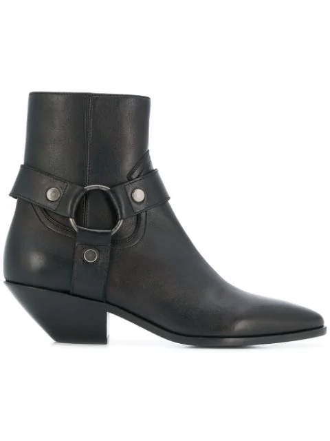 Saint Laurent West Harness Ankle Boots - 棕色 In Black