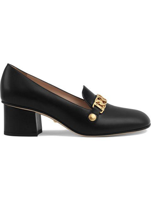 Gucci Sylvie Web-stripe And Chain Block-heel Loafers In 1183 Nero