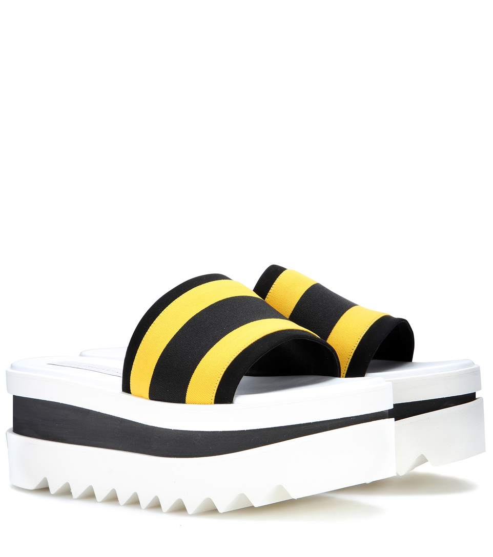 18c11aa631a0 Stella Mccartney Triple Platform Banded Slide In Yellow Black