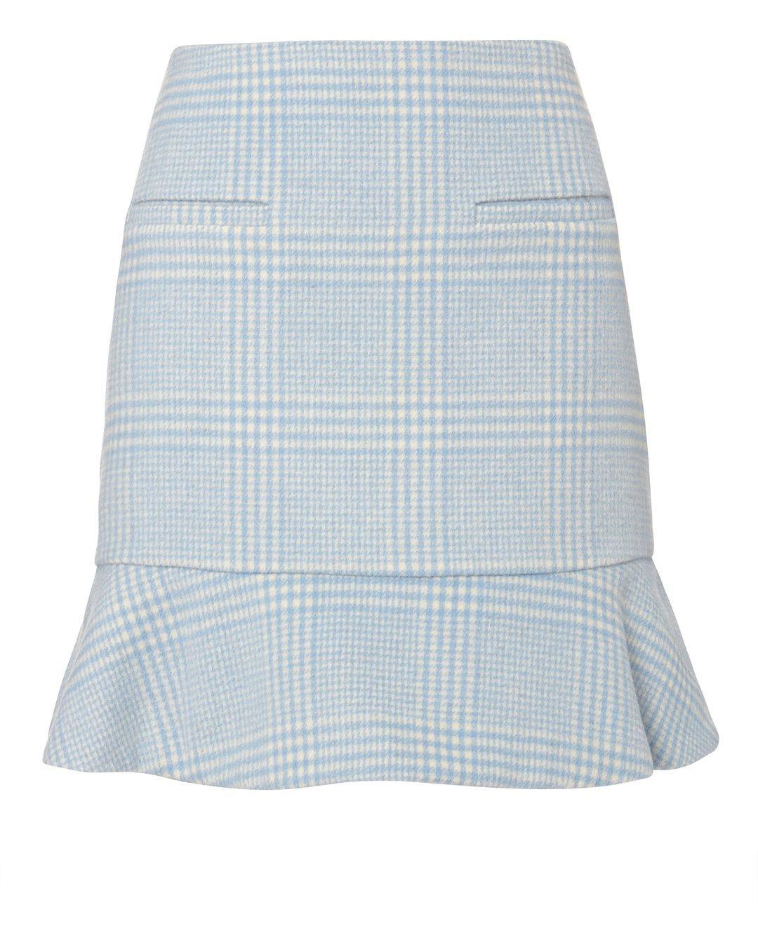 ac81b11c Ganni Woodside Gingham Felt Mini Peplum Skirt In Blue | ModeSens