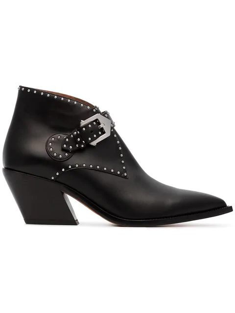 Givenchy Ankle Boots Bottine  Calfskin Logo Metallic Black
