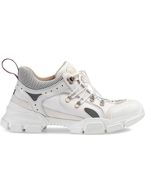 Gucci Low-Top Sneakers Flashtrek  Smooth Leather Suede Textile Logo White-Combo In 9087 Bianco