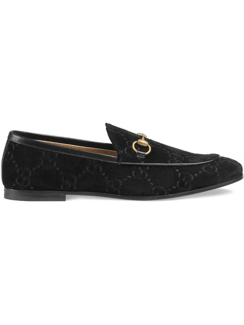 Gucci New Jordaan Horsebit Leather-trimmed Logo-embroidered Velvet Loafers In Black ,brown