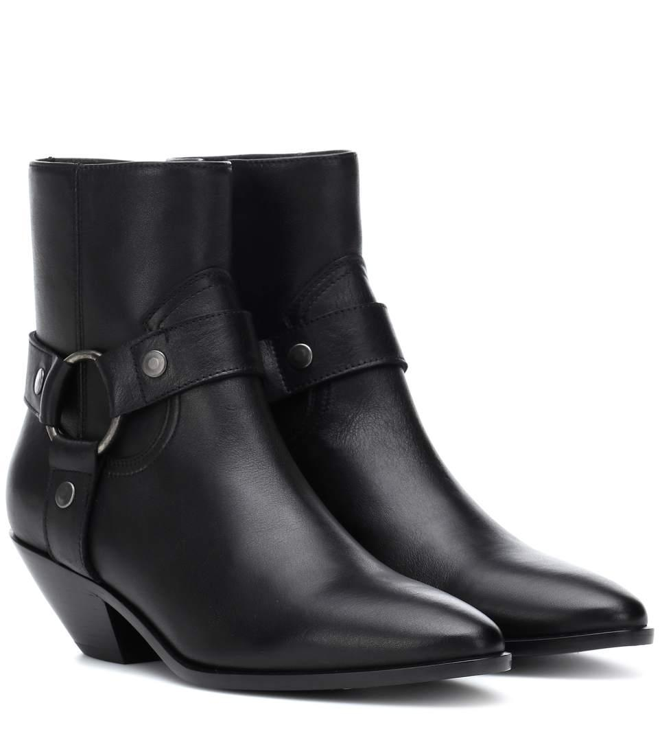 Saint Laurent Stiefeletten Cy500 Glattleder Metallisch Schwarz In Black