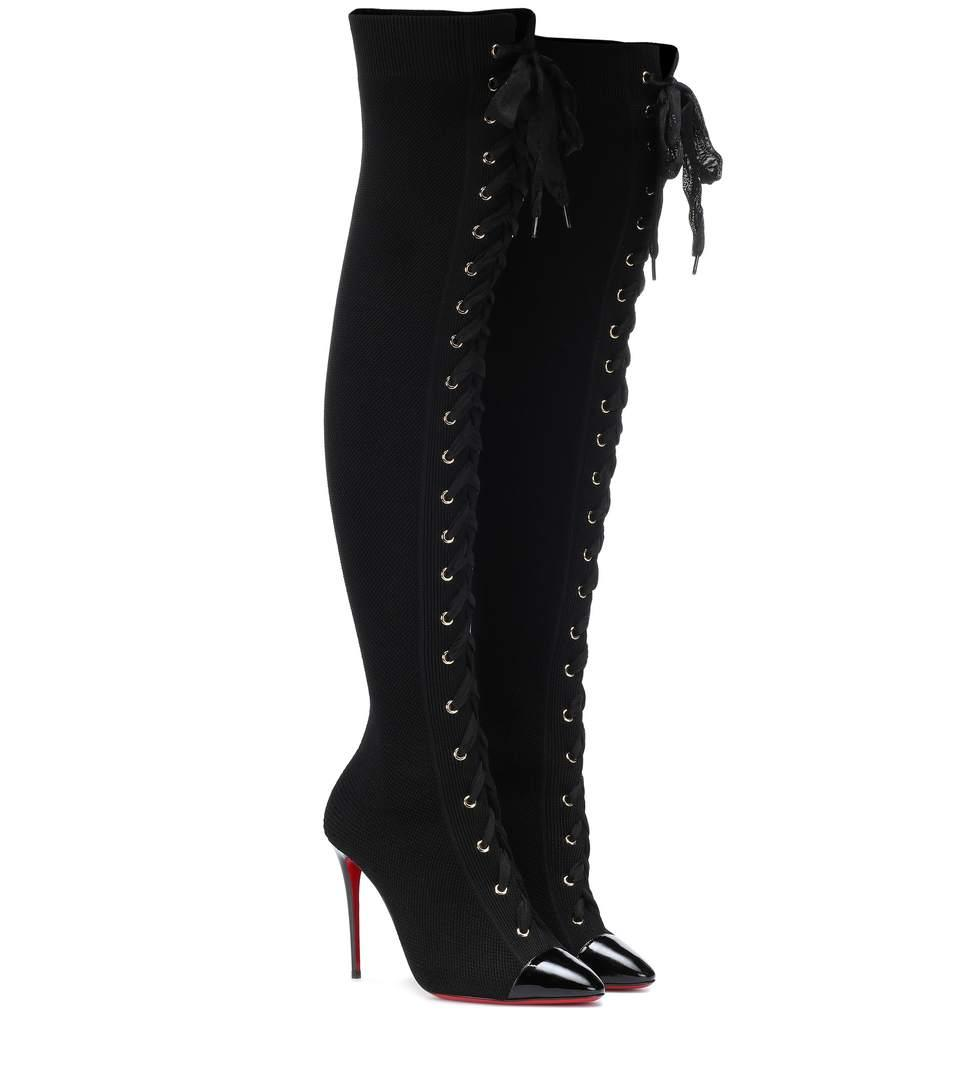 74b63231fe73 Christian Louboutin Frenchie Knit Over-The-Knee Boots - Black