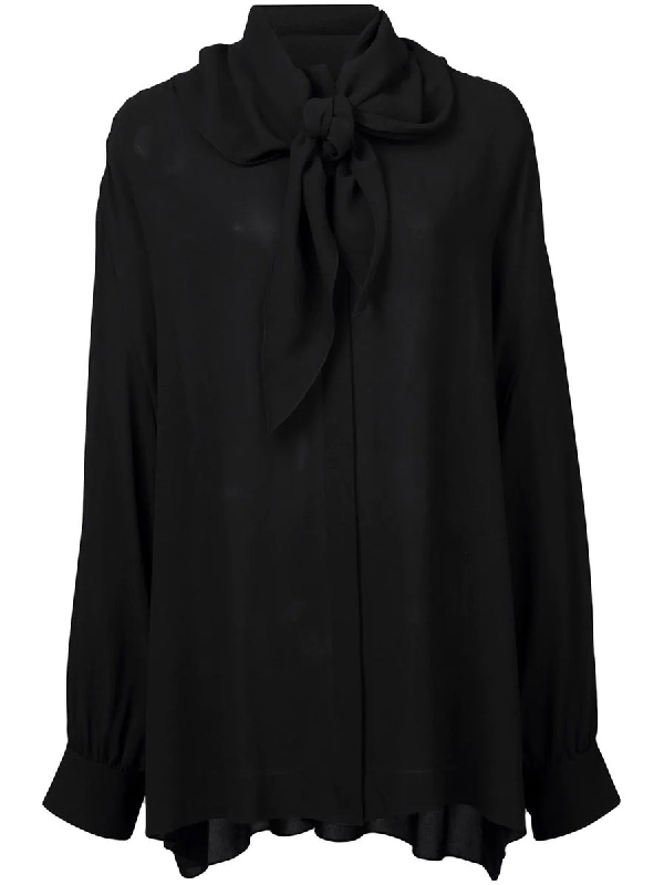 The Row Rudi Oversized Pussy-bow Silk-crepe Blouse In Black