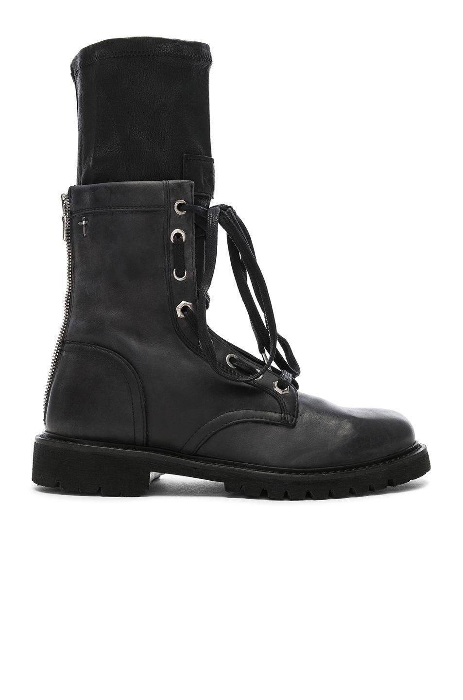 Rta Leather Combat Boots In Blackout