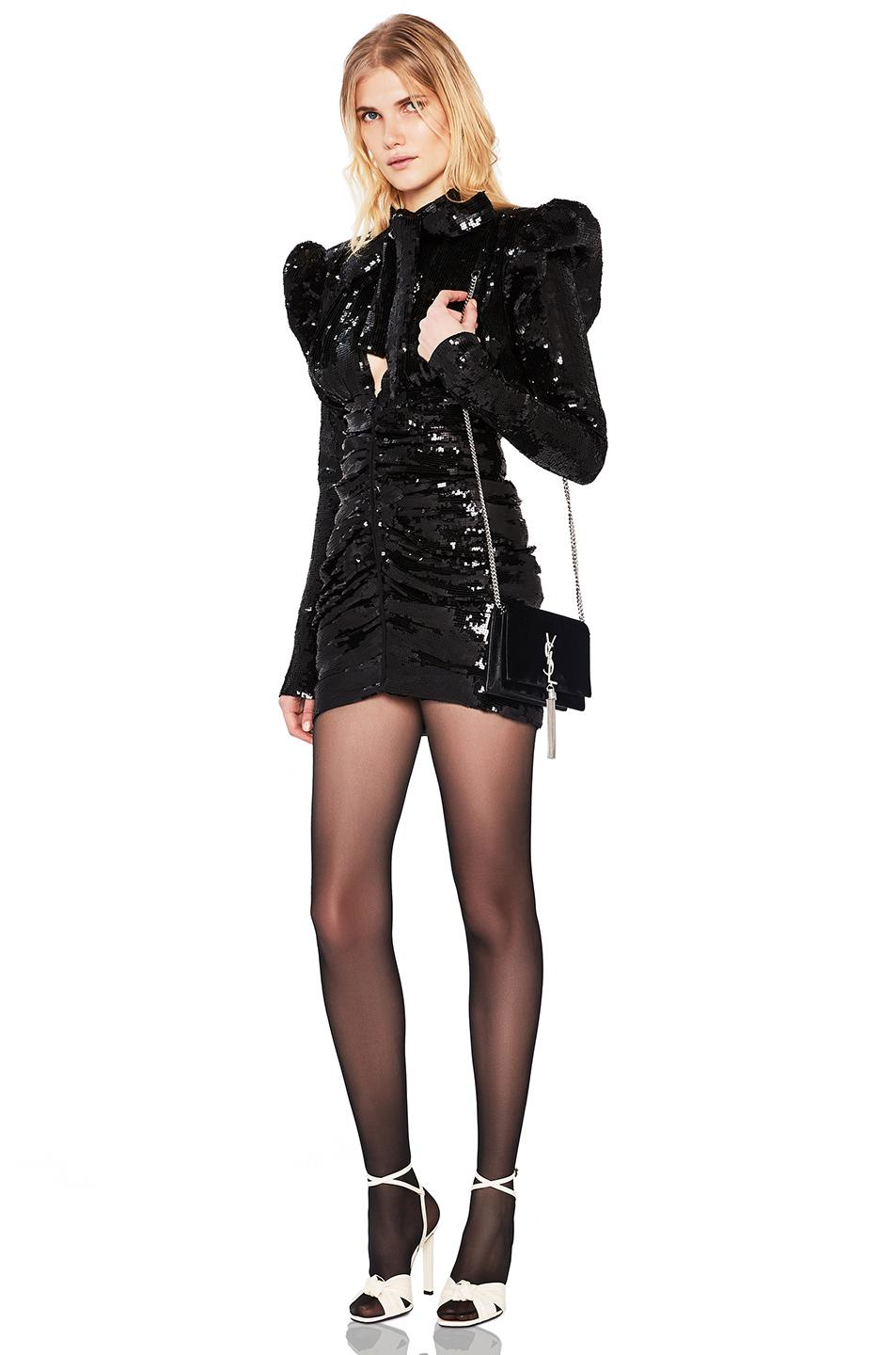 b15d572b82 SAINT LAURENT SEQUINED PUFF SLEEVE MINI DRESS IN BLACK.