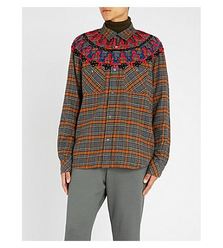 Sacai Embroidered Checked Brushed-cotton Shirt In Brown