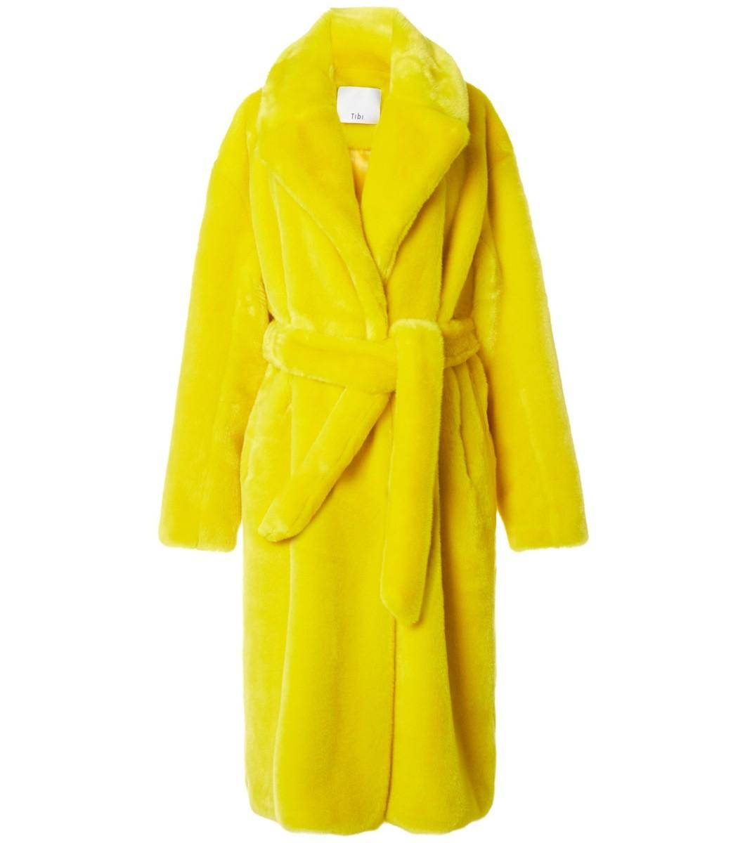 6476a9c7900a Tibi Yellow Luxe Faux Fur Oversized Trench In Chartreuse