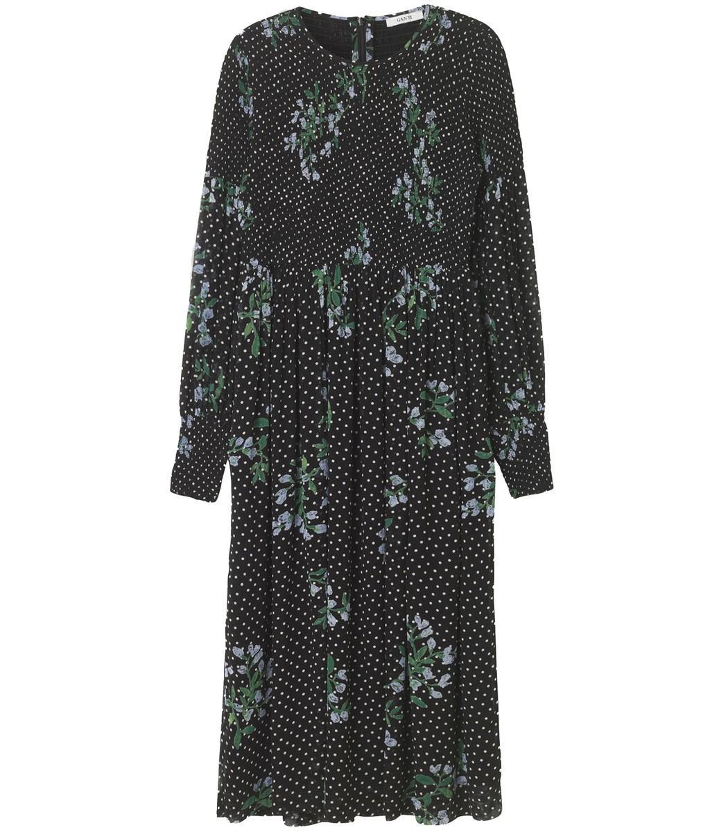 cff6d41e Ganni Rometty Smocked Printed Georgette Midi Dress In Black | ModeSens