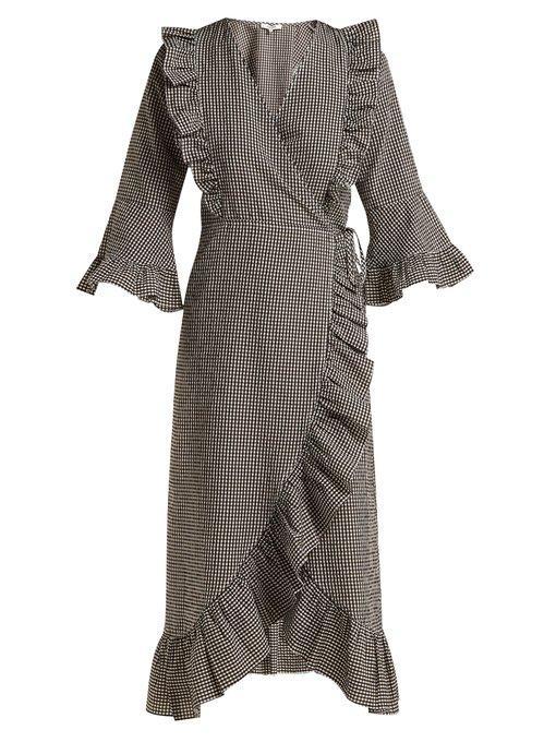 bf2c4f0a Ganni Charron Gingham Cotton-Blend Wrap Dress In Brown | ModeSens