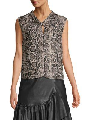 3412f380de73 Rebecca Taylor Knot-Front Snake-Print Silk Top In Washed Black Combo ...