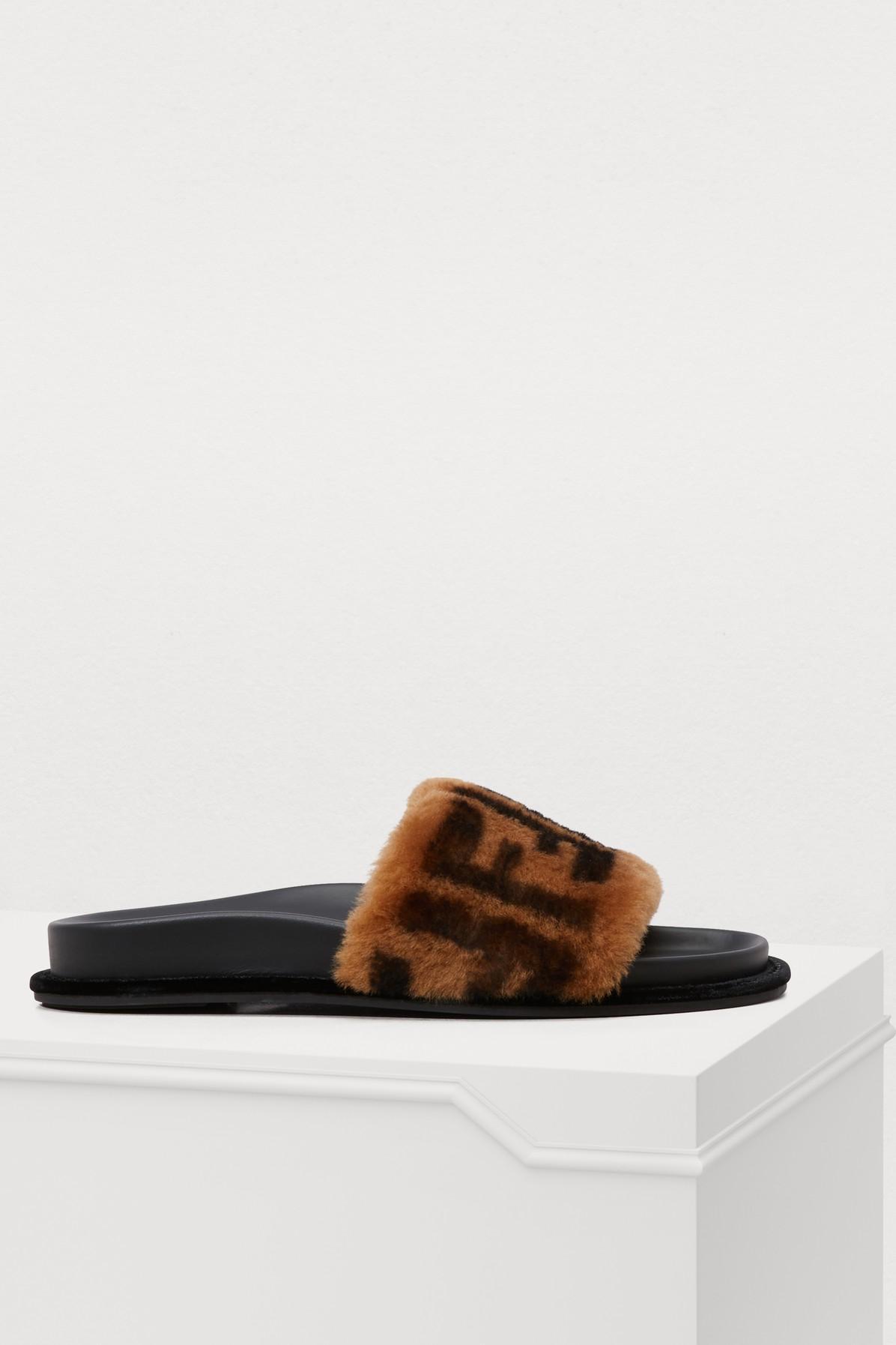 c5de9f4d8bb Fendi 20Mm Logo Shearling Slide Sandals In Brown
