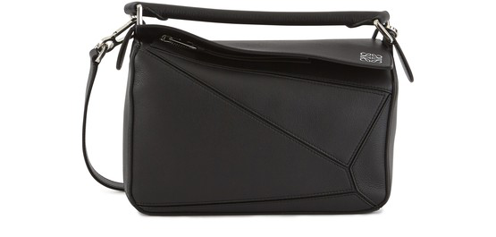 Loewe Puzzle Small Textured-leather Shoulder Bag In 1100 Black
