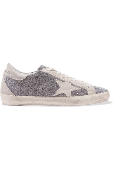 Golden Goose Superstar 施华洛世奇水晶缀饰仿旧绒面革运动鞋 In Silver