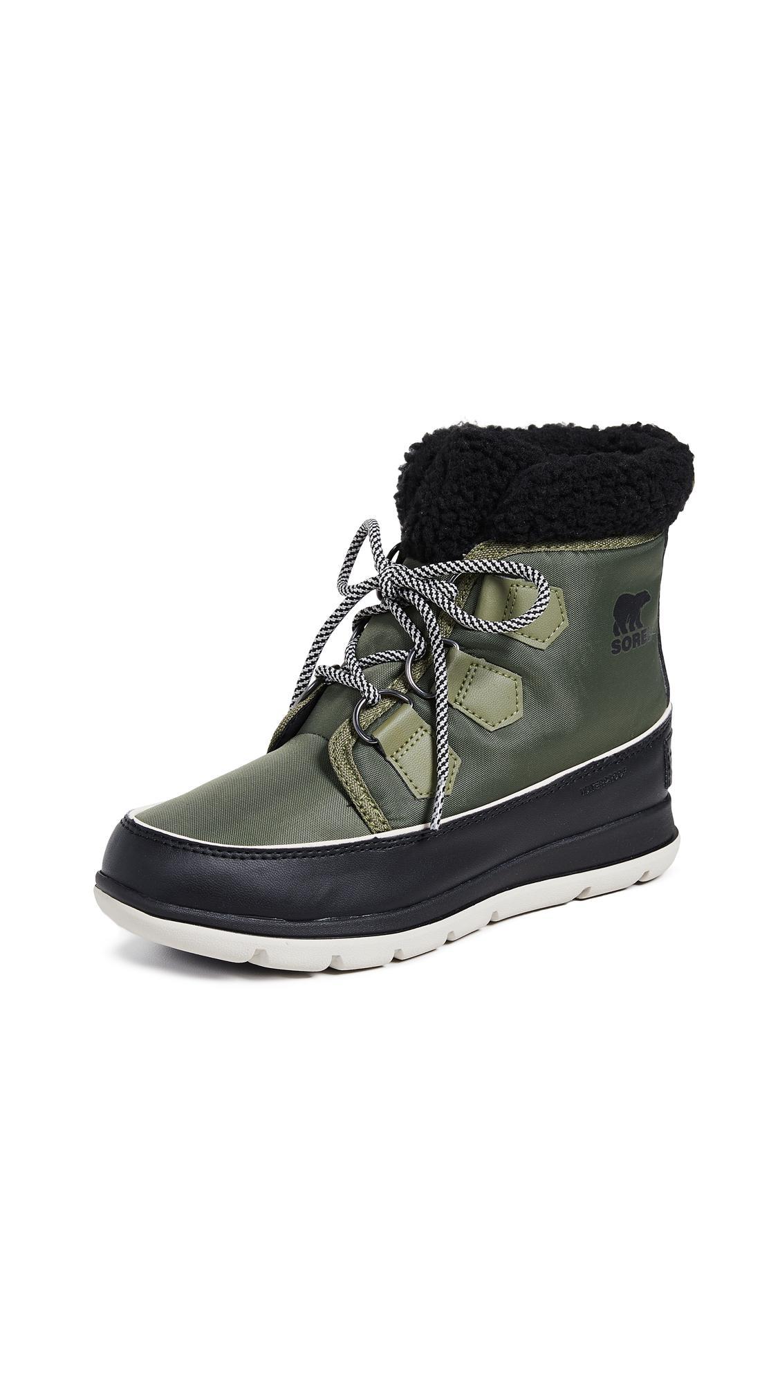 09f4ad9f1 Sorel Explorer Carnival Waterproof Boot With Faux Fur Collar In Hiker  Green/Black