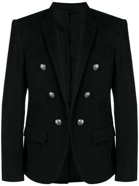 Balmain Black Slim-Fit Double-Breasted Stretch-Jersey Blazer