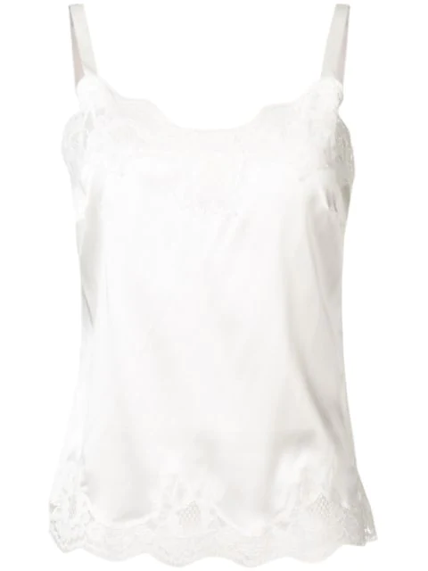 Dolce & Gabbana Eyelash Lace-trim Silk-blend Pyjama Top In W0001 Bianco Naturale