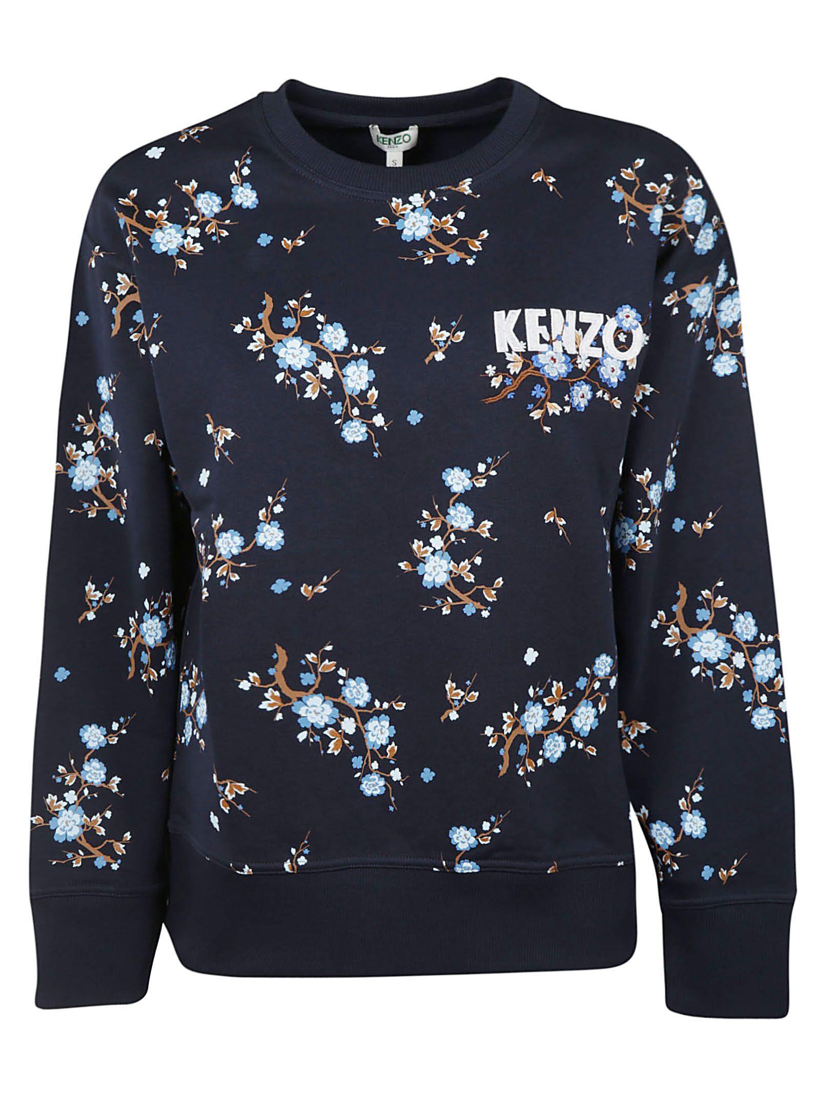 5f1df5f4 Kenzo Comfort Floral-Print Crewneck Logo Sweatshirt In Blue | ModeSens