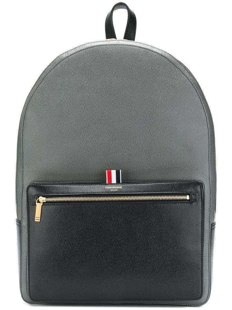 Thom Browne Colorblocked Unstructured Backpack In Pebble & Calf Leather In 001 Black