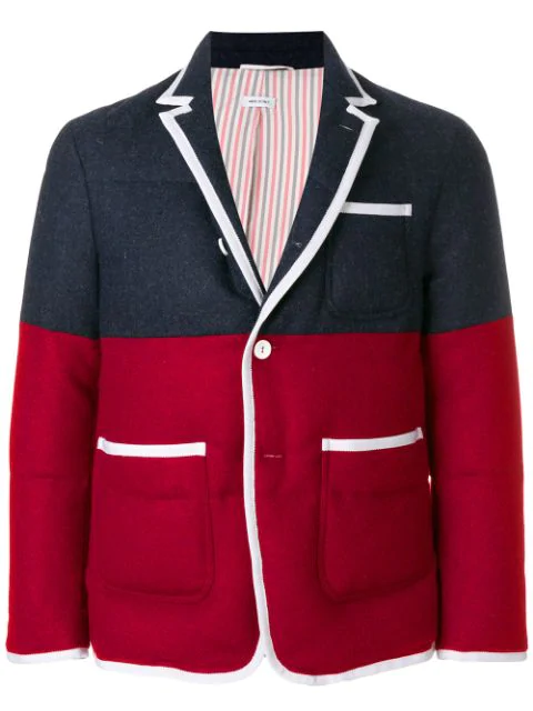 Thom Browne Bicolor Quilted Sack Sport Coat - Blue