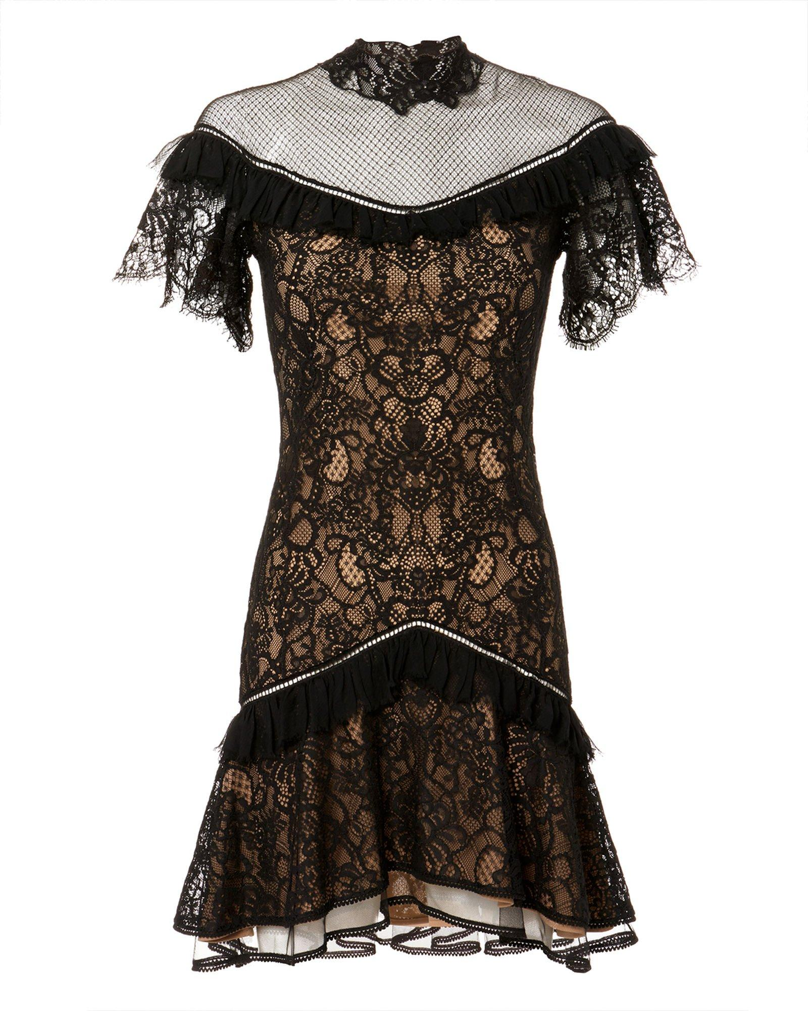 36a699a4a50 Jonathan Simkhai Mock-Neck Lace Ruffle Short Dress In Black | ModeSens