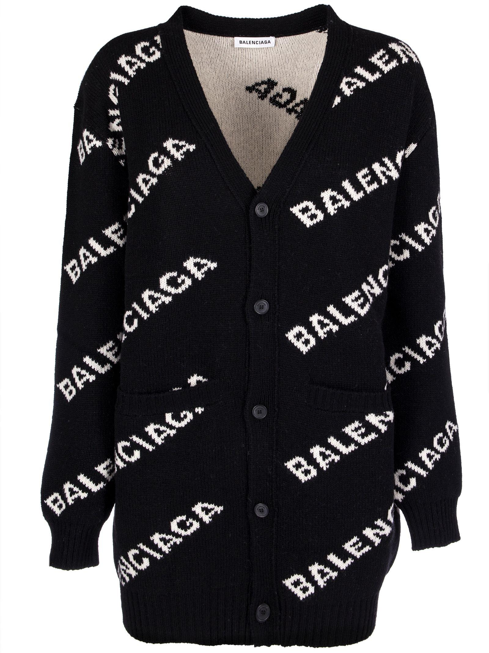f77192a31f361 Balenciaga Ladies Black And White Logo Intarsia Wool-Blend Cardigan ...