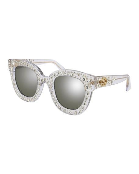 c218c768c Gucci Gg0116S Acetate Cat Eye Women's Sunglasses W/Stars Feature Star  Worthy Retro In Clear