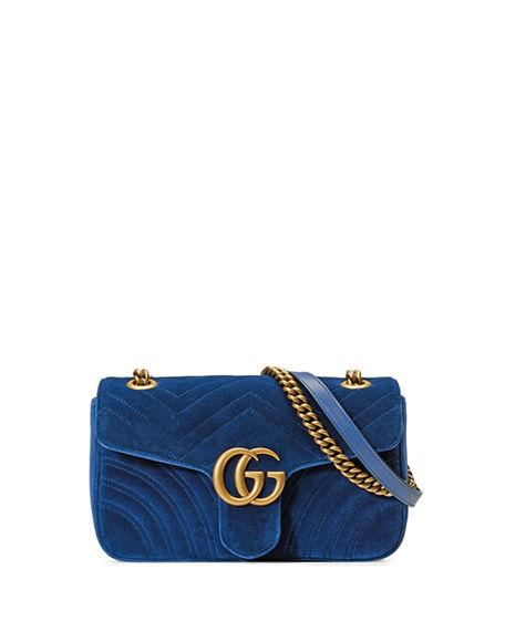 17c440150 Gucci Medium Gg Marmont 2.0 Matelasse Velvet Shoulder Bag - Blue In Cobalt/  Cobalt