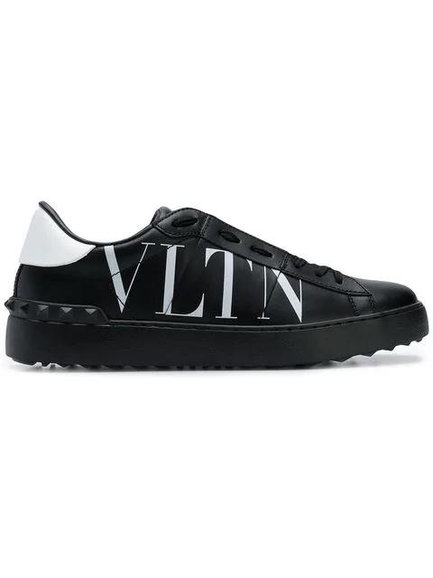 Valentino Garavani Sneaker Low Vltn Open Kalbsleder Logo Schwarz In Black