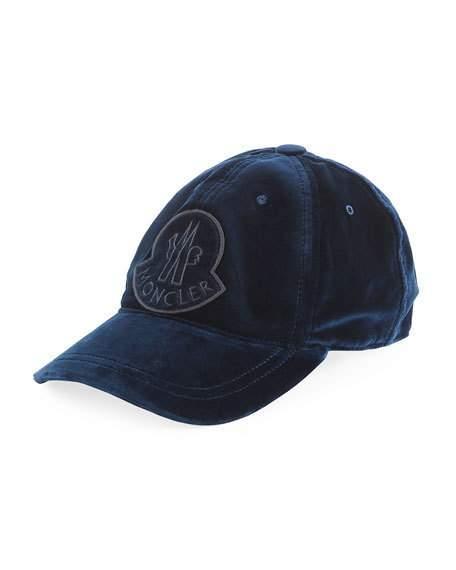 bce1610ed70126 Moncler Velvet Baseball Cap W/ Logo Patch In Blue | ModeSens