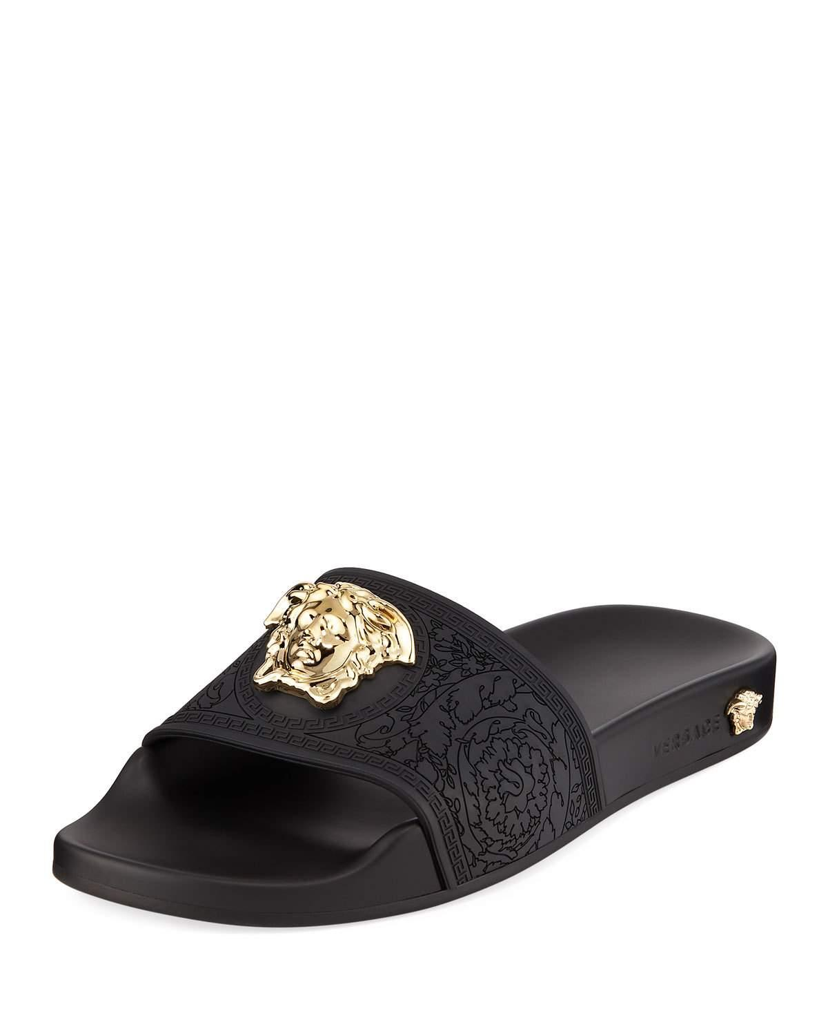 6850bfb39 Versace Palazzo Medusa Pool Slide Sandals In D41 Black
