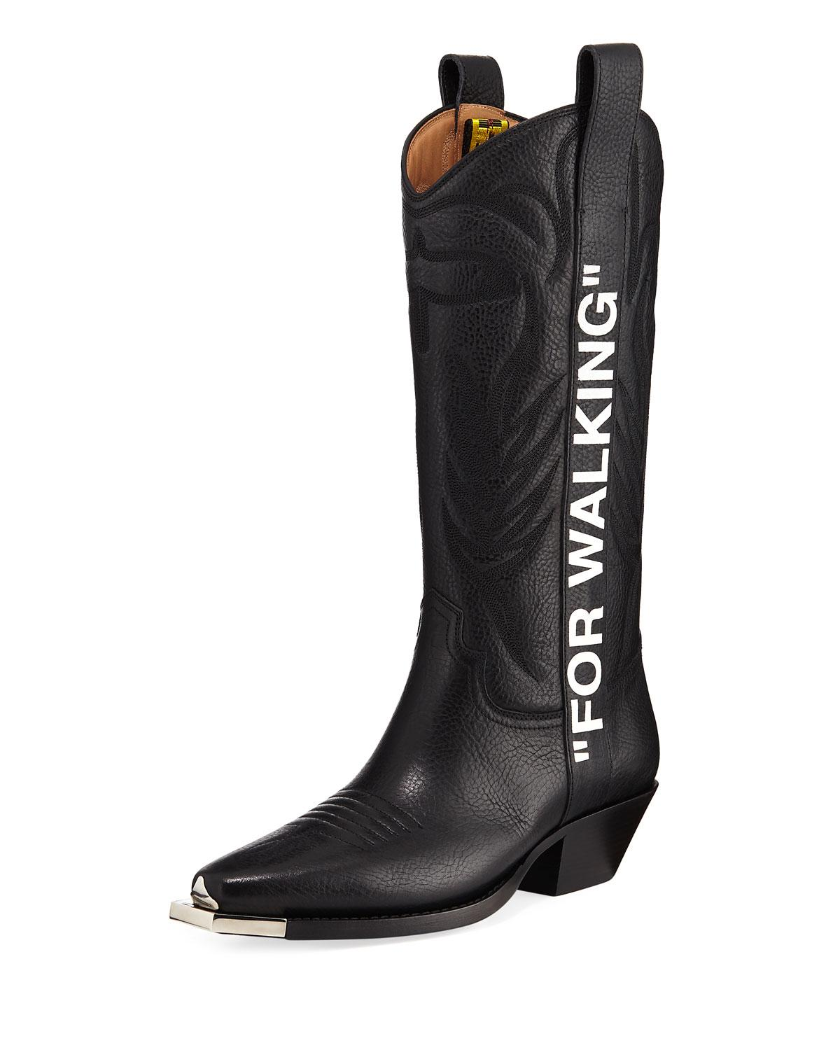 03ea9386159 Off-White For Walking Embroidered Printed Textured-Leather Knee Boots In  Black