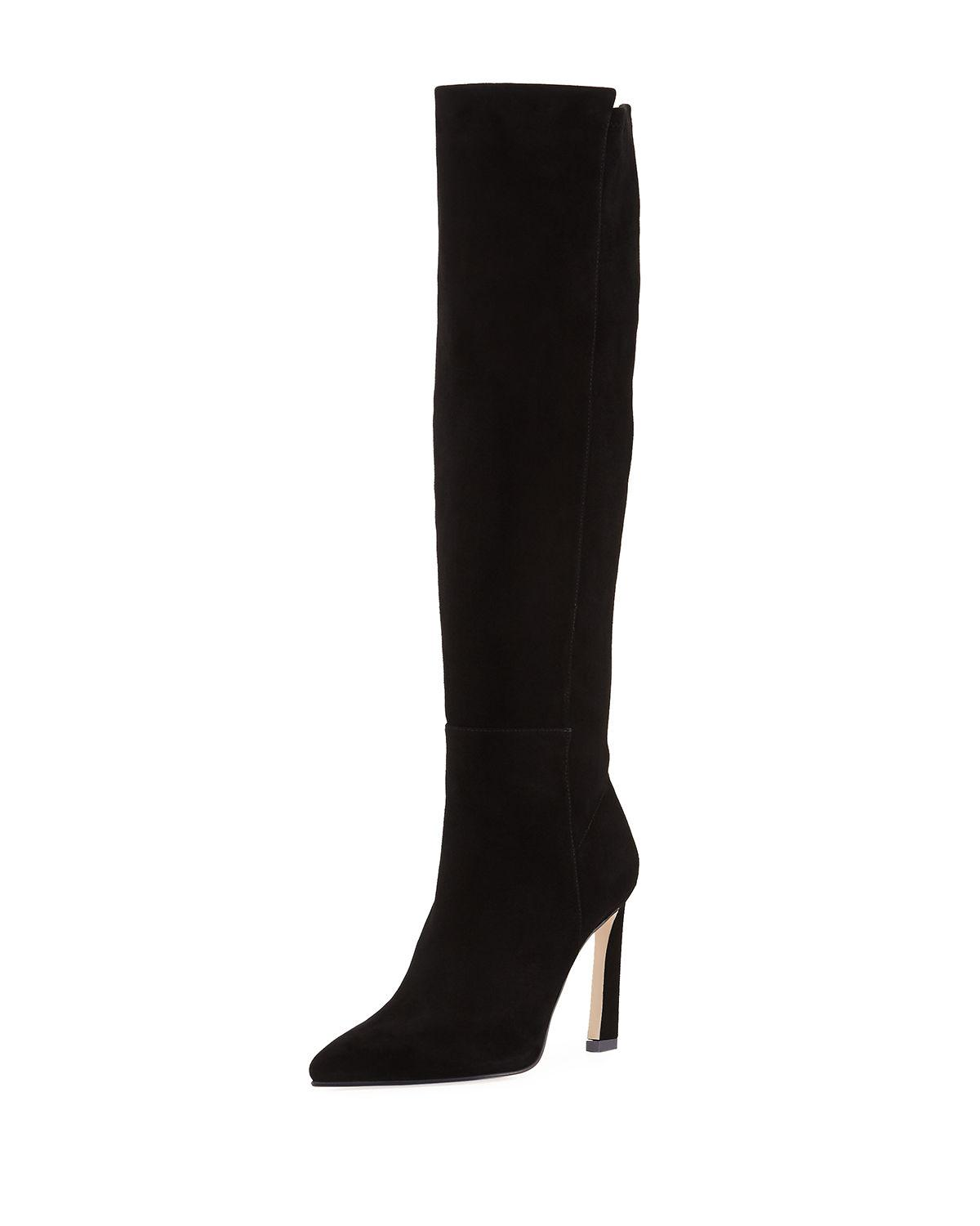 543a436a66e Stuart Weitzman Women s Charlie Pointed-Toe Knee-High Suede High-Heel Boots  In